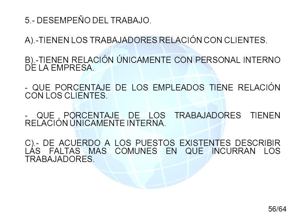 5.- DESEMPEÑO DEL TRABAJO.