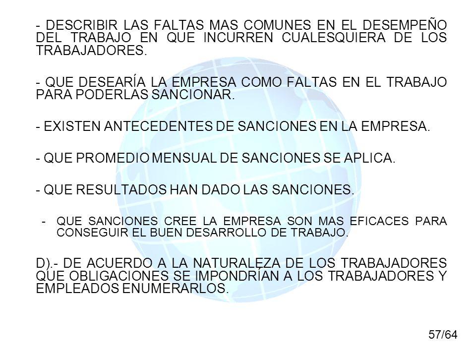 - EXISTEN ANTECEDENTES DE SANCIONES EN LA EMPRESA.