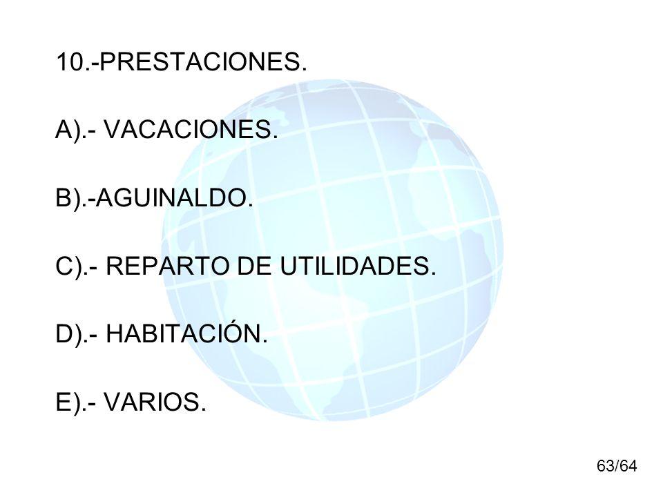 C).- REPARTO DE UTILIDADES. D).- HABITACIÓN. E).- VARIOS.