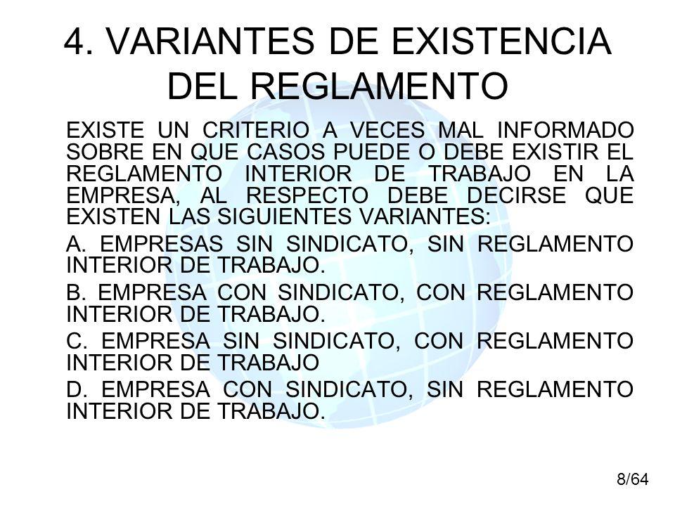 4. VARIANTES DE EXISTENCIA DEL REGLAMENTO