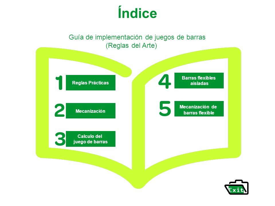 Índice Guía de implementación de juegos de barras (Reglas del Arte)