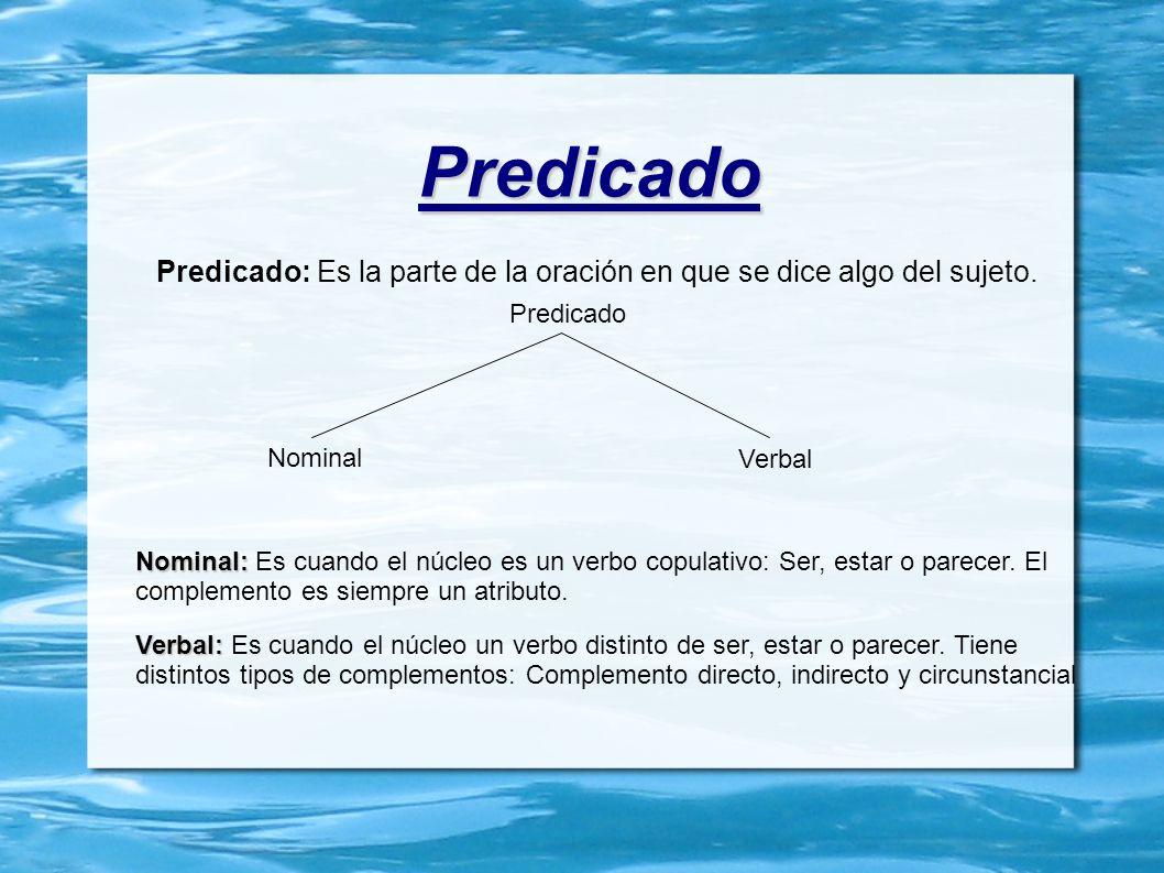 Predicado Predicado: Es la parte de la oración en que se dice algo del sujeto. Predicado. Nominal.