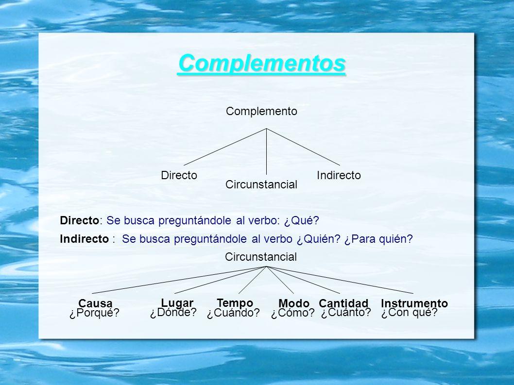 Complementos Complemento Directo Indirecto Circunstancial