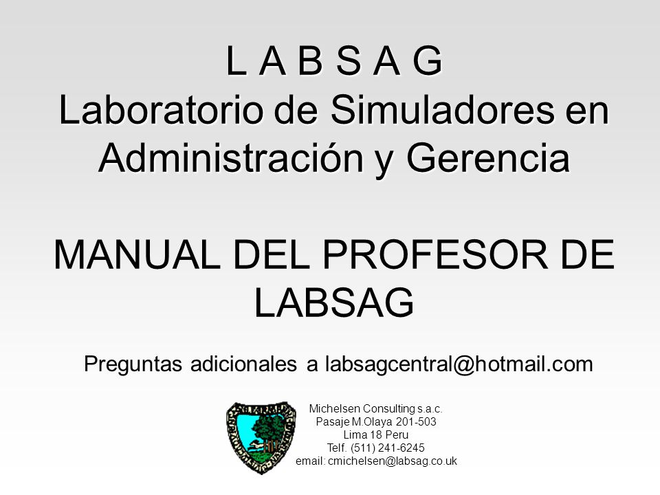 L A B S A G Laboratorio de Simuladores en Administración y Gerencia MANUAL DEL PROFESOR DE LABSAG