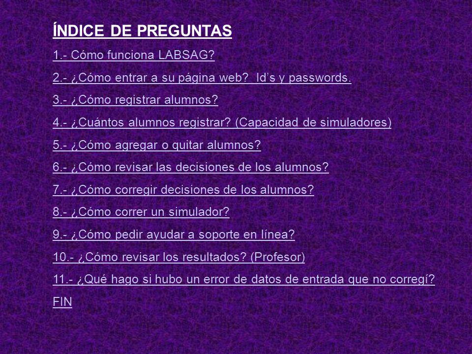 ÍNDICE DE PREGUNTAS 1.- Cómo funciona LABSAG