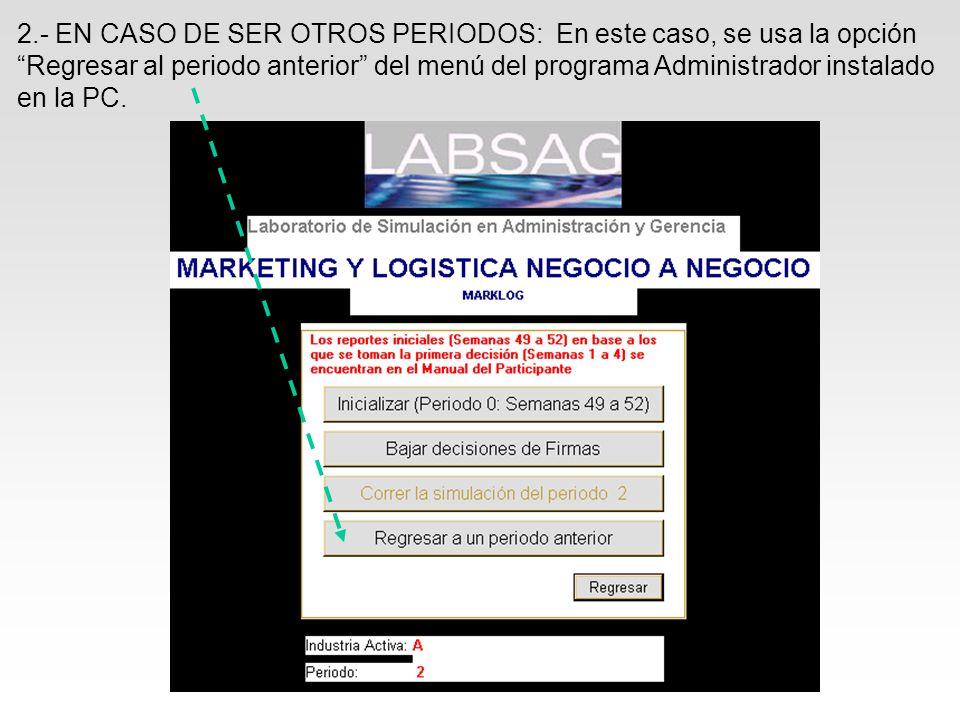2.- EN CASO DE SER OTROS PERIODOS: En este caso, se usa la opción Regresar al periodo anterior del menú del programa Administrador instalado en la PC.