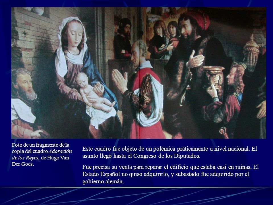 Foto de un fragmento de la copia del cuadro Adoración de los Reyes, de Hugo Van Der Goes.