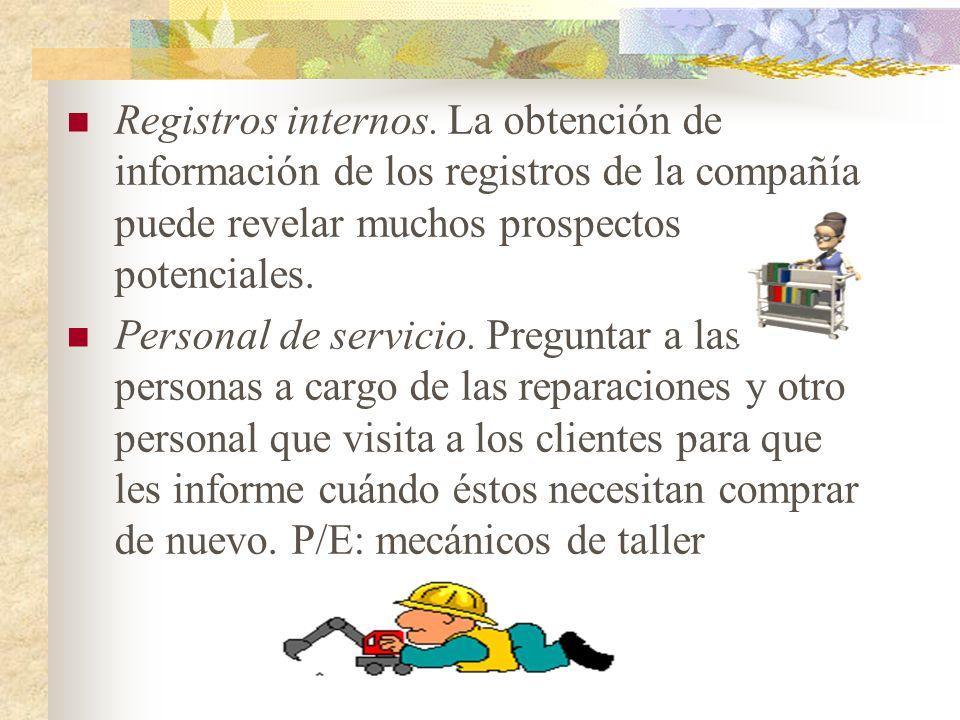 Registros internos. La obtención de información de los registros de la compañía puede revelar muchos prospectos potenciales.