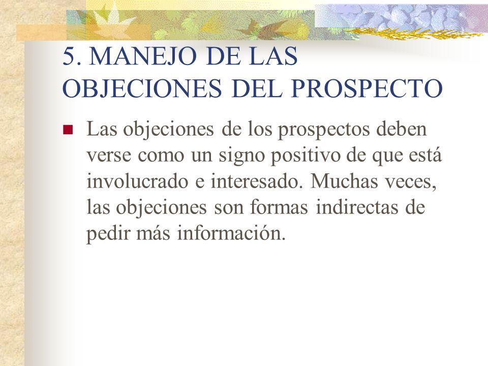 5. MANEJO DE LAS OBJECIONES DEL PROSPECTO