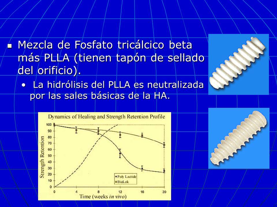 Mezcla de Fosfato tricálcico beta más PLLA (tienen tapón de sellado del orificio).