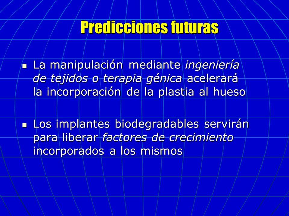 Predicciones futuras La manipulación mediante ingeniería de tejidos o terapia génica acelerará la incorporación de la plastia al hueso.