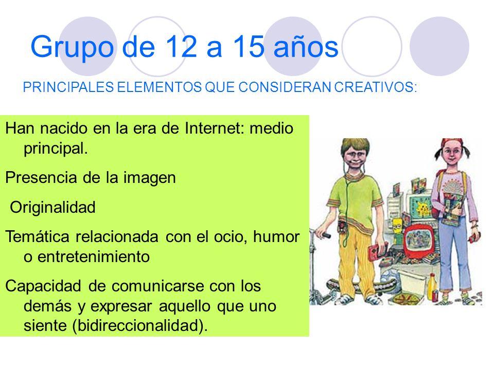 Grupo de 12 a 15 añosPRINCIPALES ELEMENTOS QUE CONSIDERAN CREATIVOS: Han nacido en la era de Internet: medio principal.