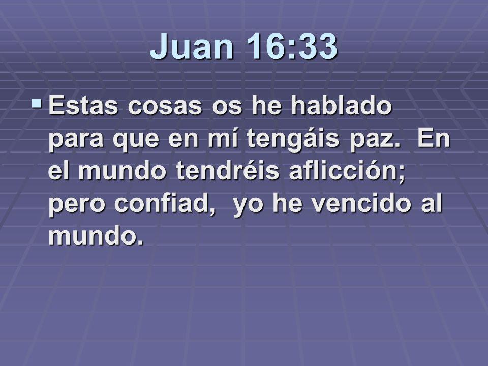 Juan 16:33 Estas cosas os he hablado para que en mí tengáis paz.