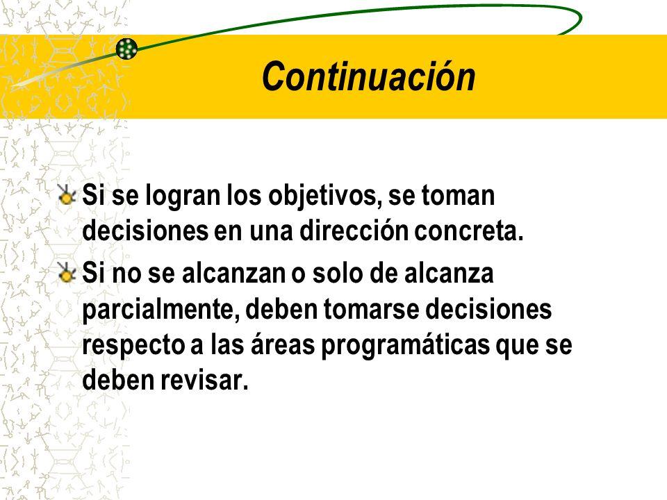 Continuación Si se logran los objetivos, se toman decisiones en una dirección concreta.
