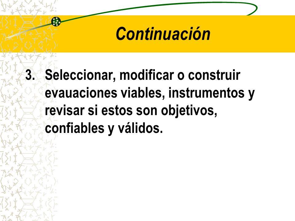 Continuación 3. Seleccionar, modificar o construir evauaciones viables, instrumentos y revisar si estos son objetivos, confiables y válidos.