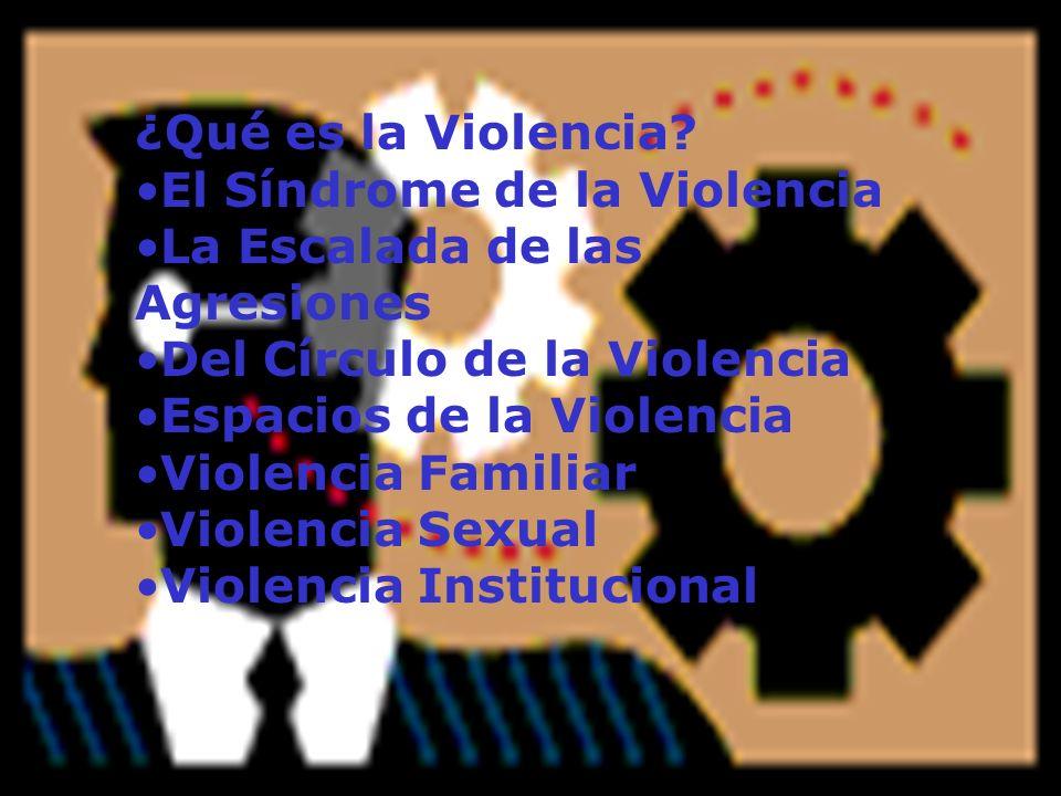 ¿Qué es la Violencia El Síndrome de la Violencia. La Escalada de las Agresiones. Del Círculo de la Violencia.