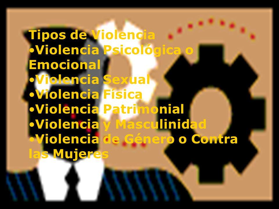 Tipos de Violencia Violencia Psicológica o Emocional. Violencia Sexual. Violencia Física. Violencia Patrimonial.