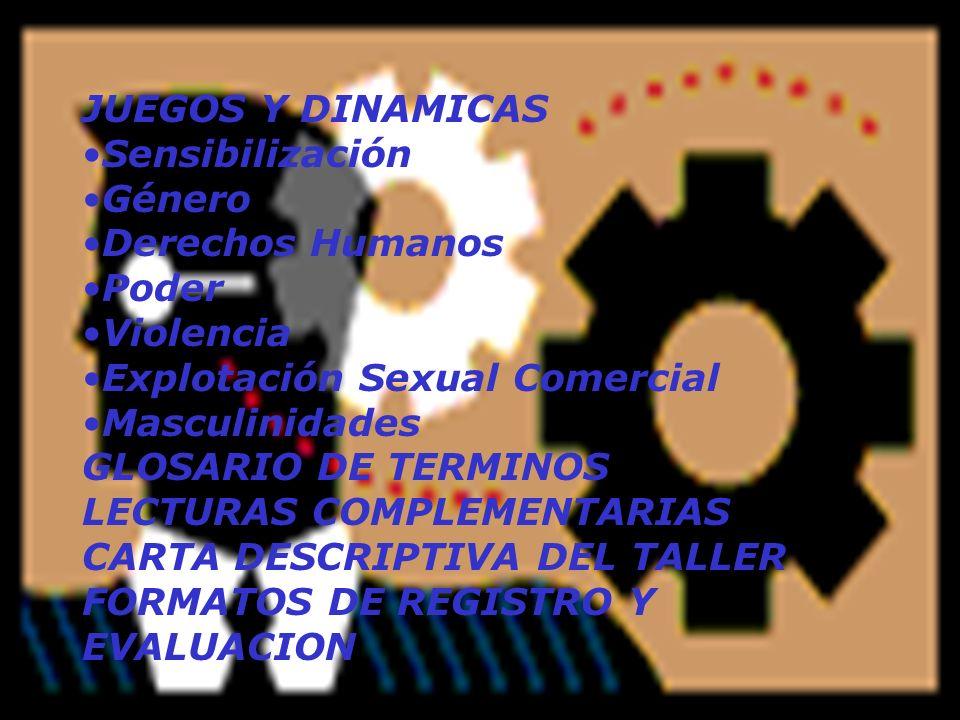 JUEGOS Y DINAMICAS Sensibilización. Género. Derechos Humanos. Poder. Violencia. Explotación Sexual Comercial.