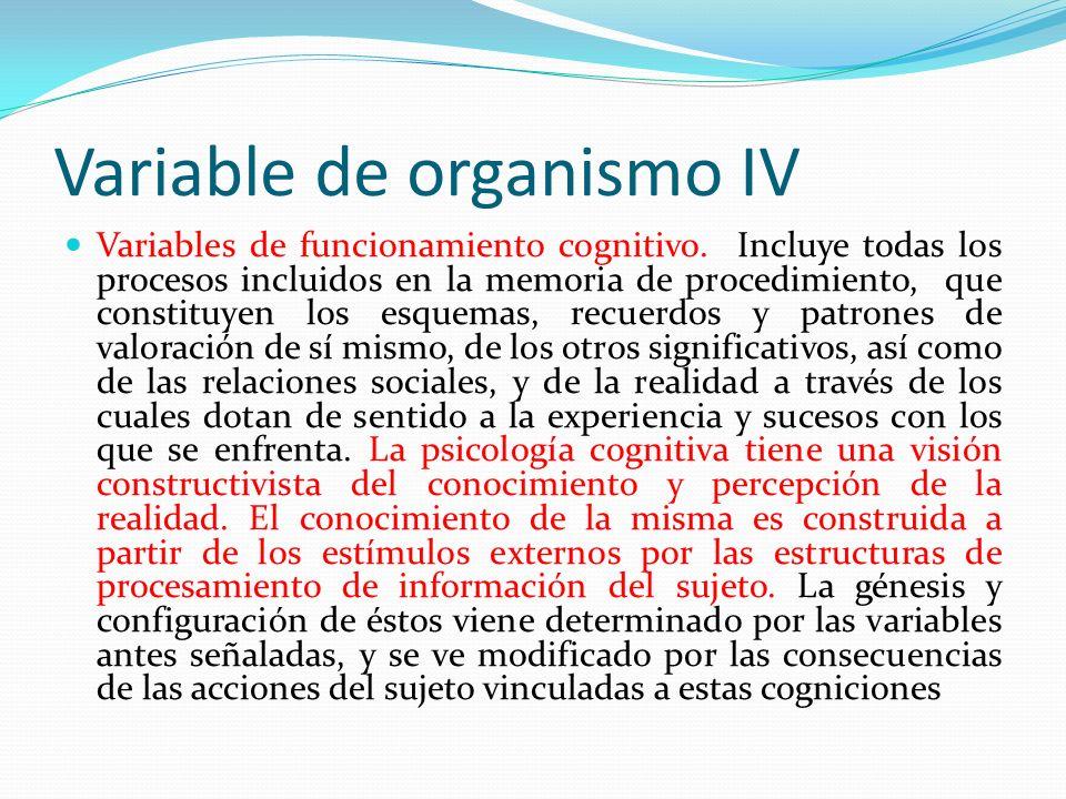 Variable de organismo IV