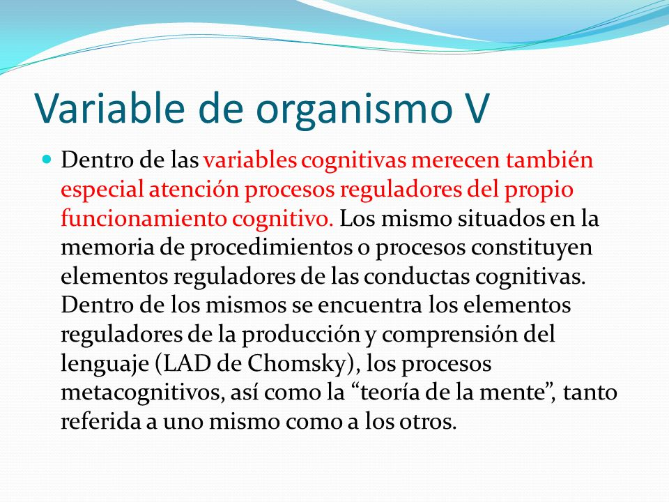 Variable de organismo V