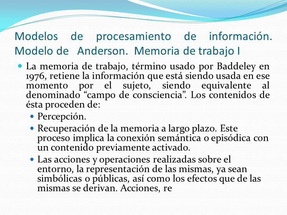 Modelos de procesamiento de información. Modelo de Anderson