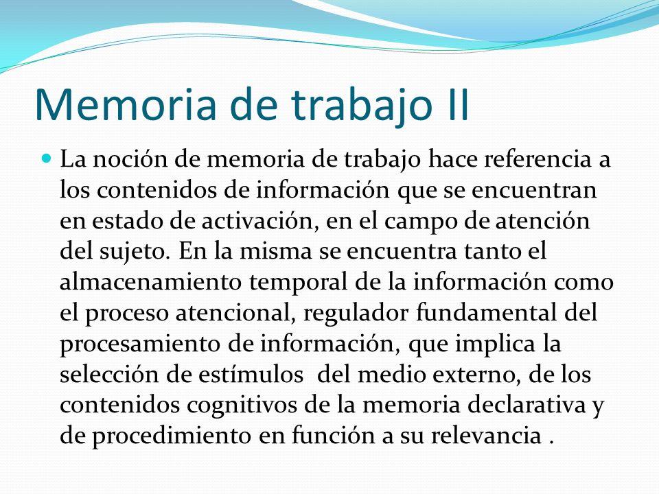 Memoria de trabajo II