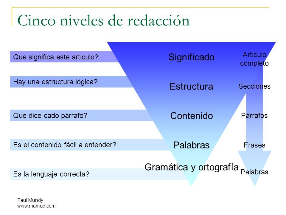 Cinco niveles de redacción