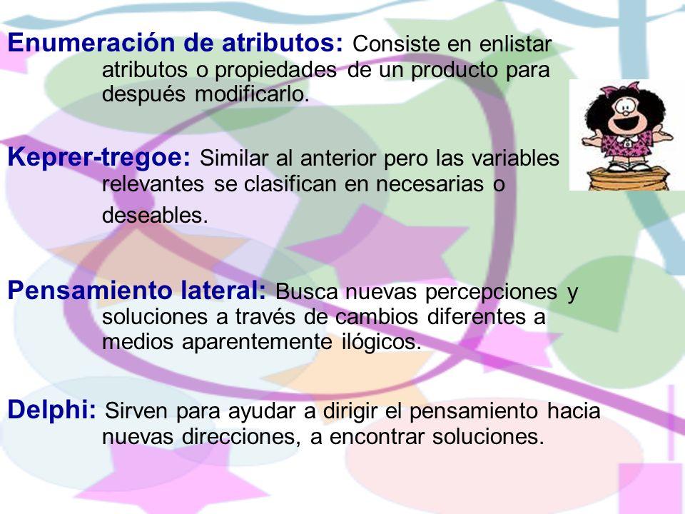 Enumeración de atributos: Consiste en enlistar atributos o propiedades de un producto para después modificarlo.