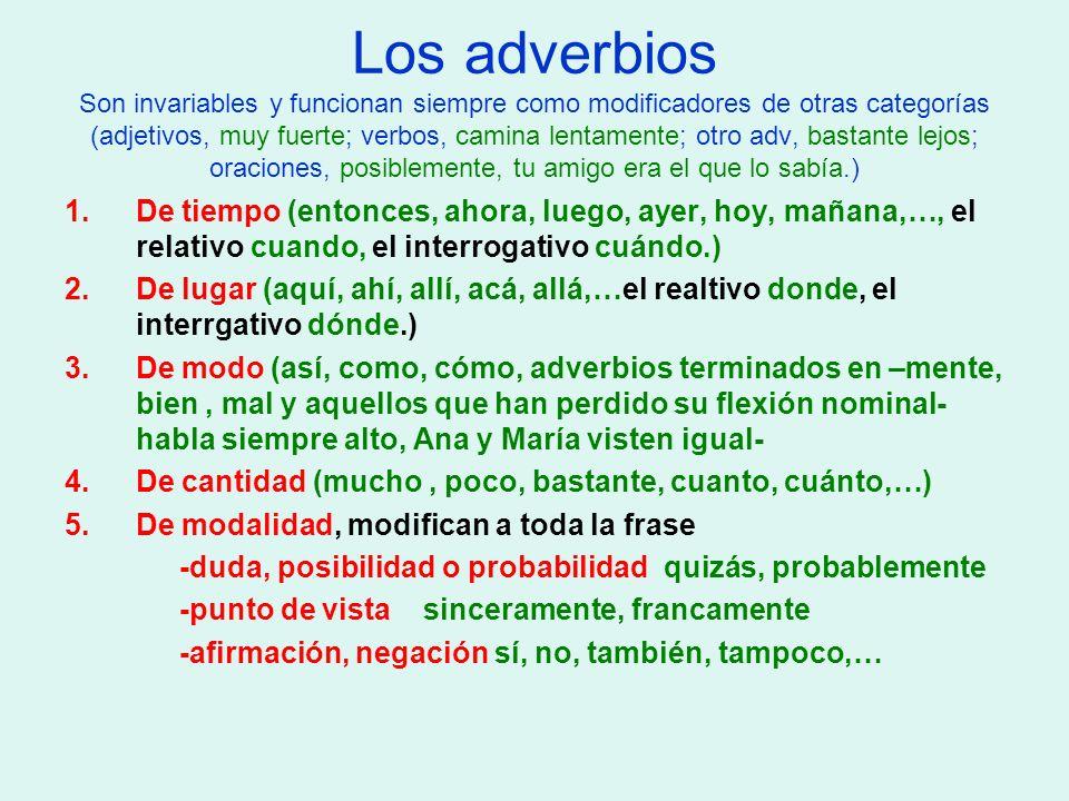 Los adverbios Son invariables y funcionan siempre como modificadores de otras categorías (adjetivos, muy fuerte; verbos, camina lentamente; otro adv, bastante lejos; oraciones, posiblemente, tu amigo era el que lo sabía.)
