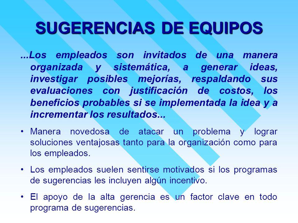 SUGERENCIAS DE EQUIPOS