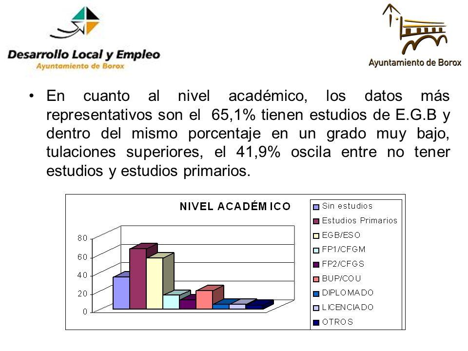 En cuanto al nivel académico, los datos más representativos son el 65,1% tienen estudios de E.G.B y dentro del mismo porcentaje en un grado muy bajo, tulaciones superiores, el 41,9% oscila entre no tener estudios y estudios primarios.