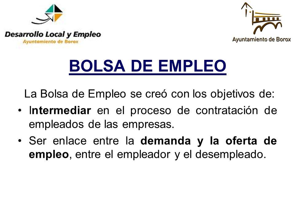 BOLSA DE EMPLEO La Bolsa de Empleo se creó con los objetivos de:
