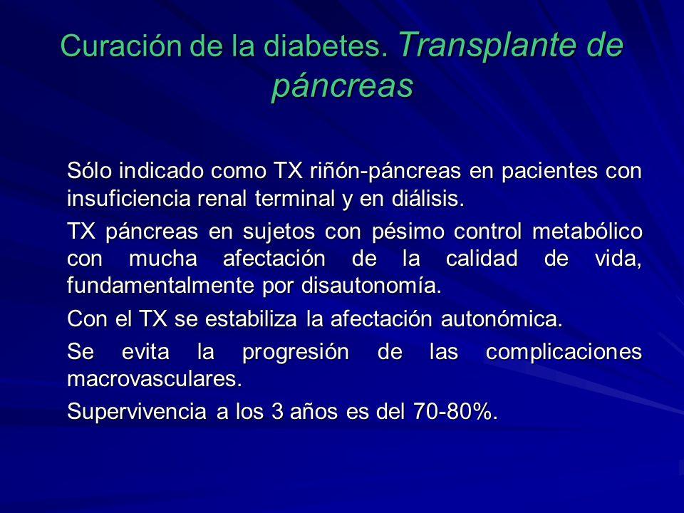 Curación de la diabetes. Transplante de páncreas