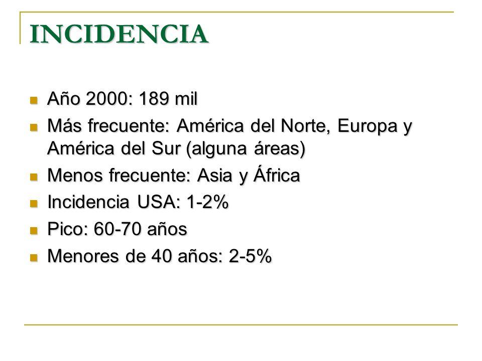 INCIDENCIA Año 2000: 189 mil. Más frecuente: América del Norte, Europa y América del Sur (alguna áreas)