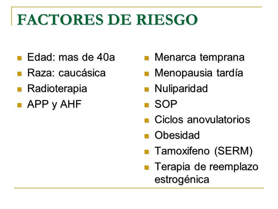 FACTORES DE RIESGO Edad: mas de 40a Raza: caucásica Radioterapia