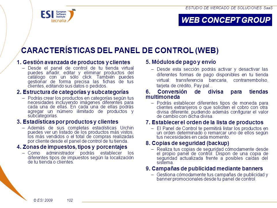 CARACTERÍSTICAS DEL PANEL DE CONTROL (WEB)