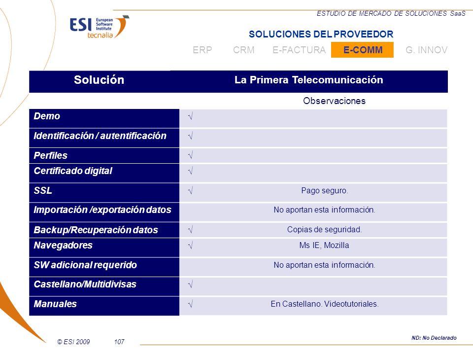 SOLUCIONES DEL PROVEEDOR La Primera Telecomunicación