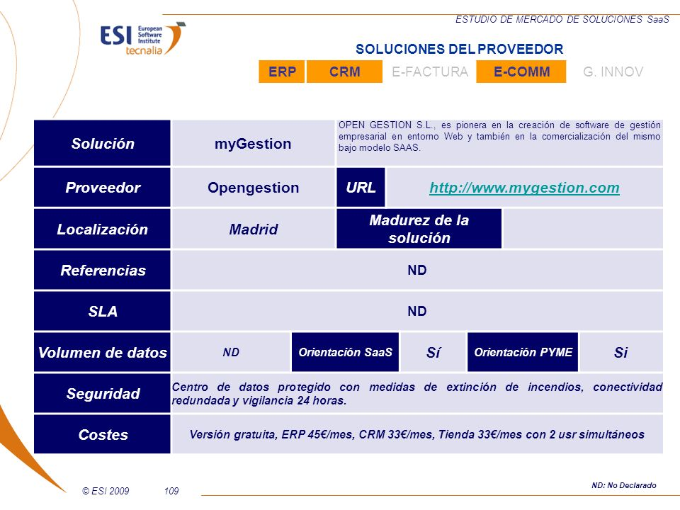 Solución myGestion Proveedor Opengestion URL http://www.mygestion.com