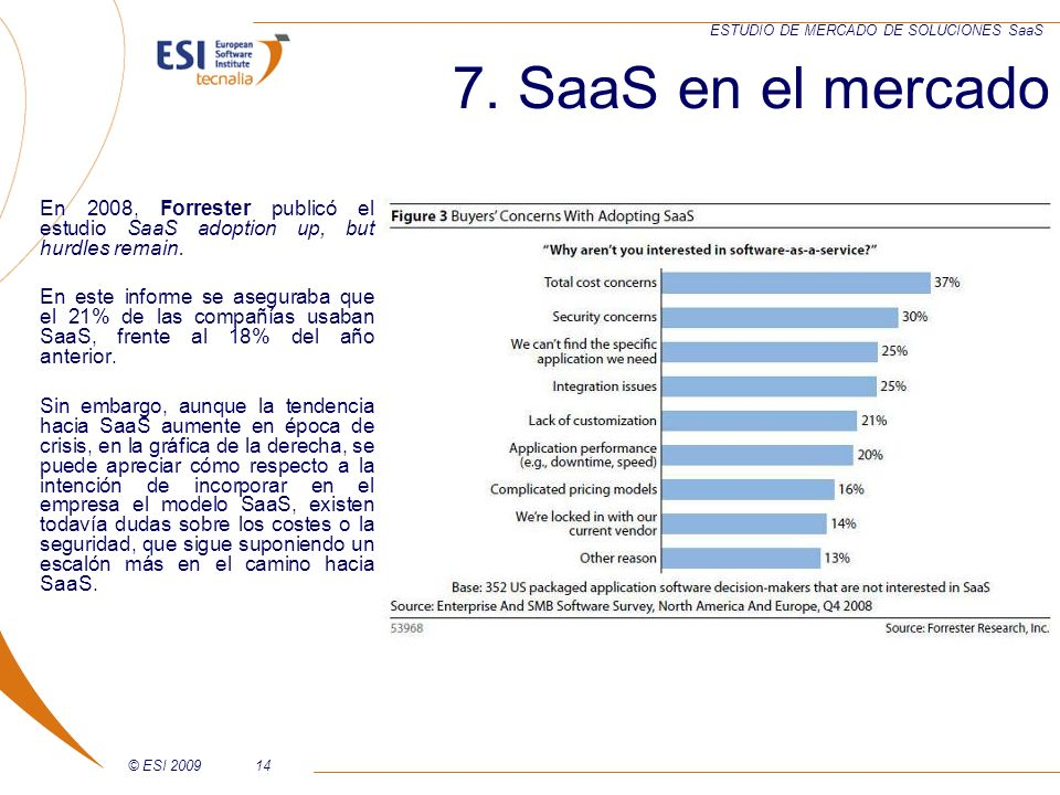 7. SaaS en el mercado En 2008, Forrester publicó el estudio SaaS adoption up, but hurdles remain.