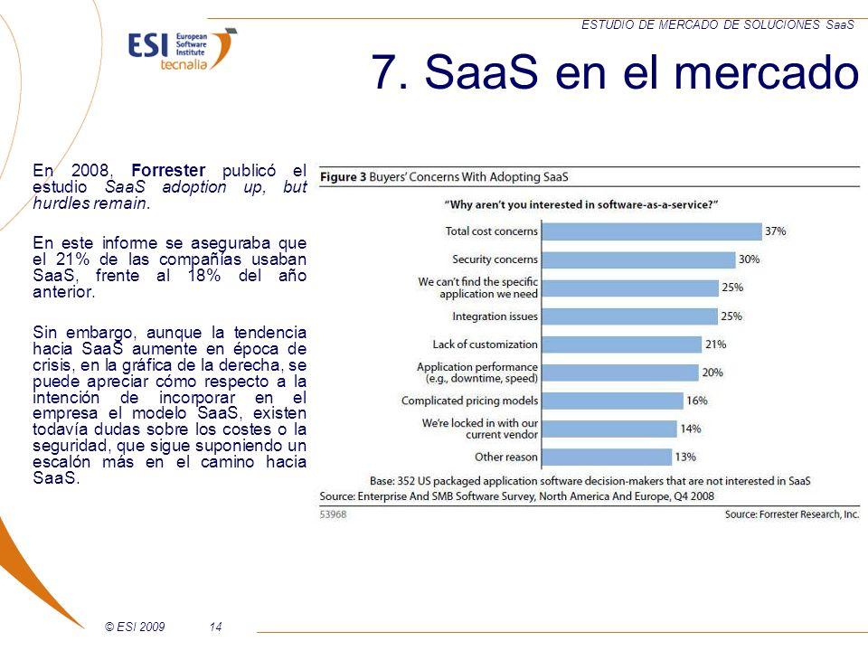 7. SaaS en el mercadoEn 2008, Forrester publicó el estudio SaaS adoption up, but hurdles remain.