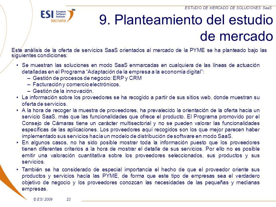 9. Planteamiento del estudio de mercado