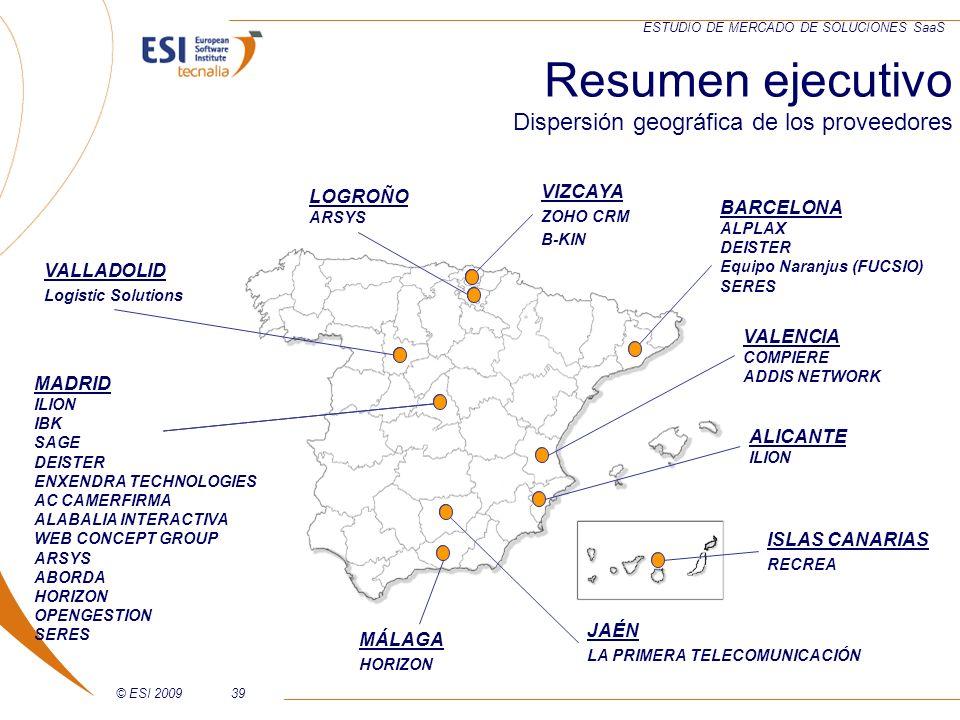 Resumen ejecutivo Dispersión geográfica de los proveedores VIZCAYA