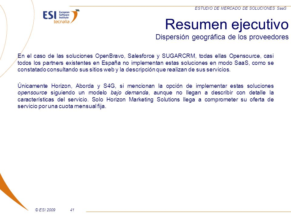 Resumen ejecutivo Dispersión geográfica de los proveedores