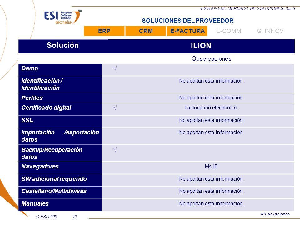 Solución ILION SOLUCIONES DEL PROVEEDOR ERP CRM E-FACTURA E-COMM
