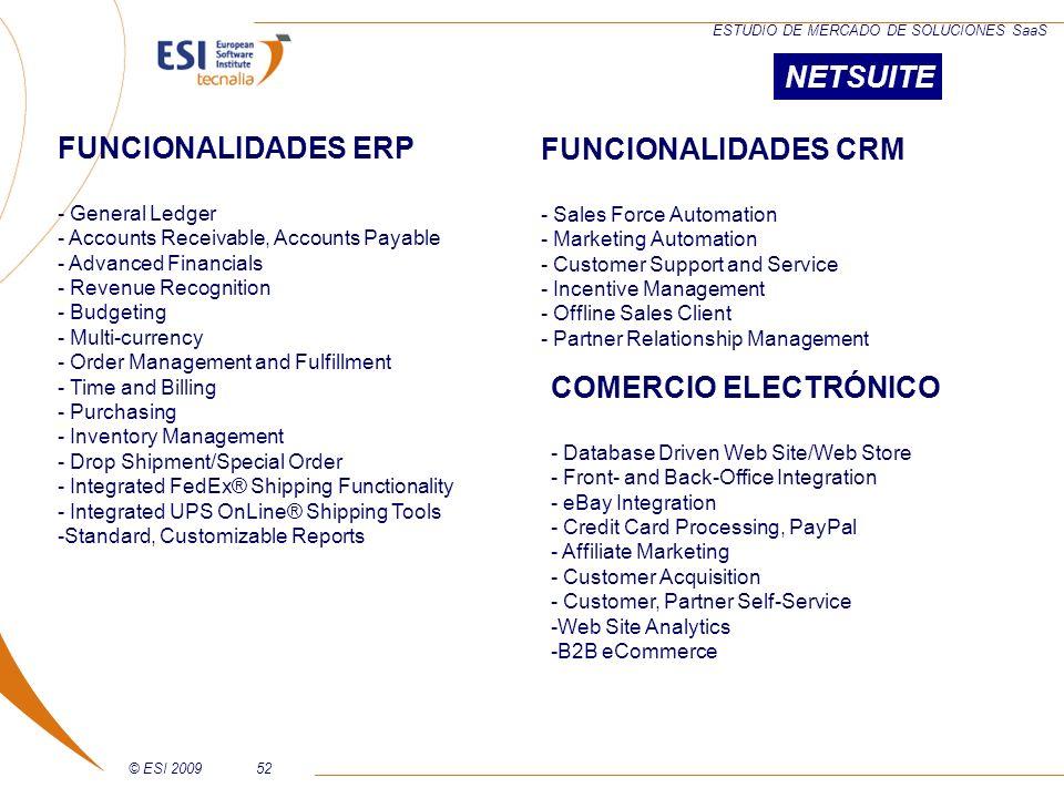 NETSUITE FUNCIONALIDADES ERP FUNCIONALIDADES CRM COMERCIO ELECTRÓNICO