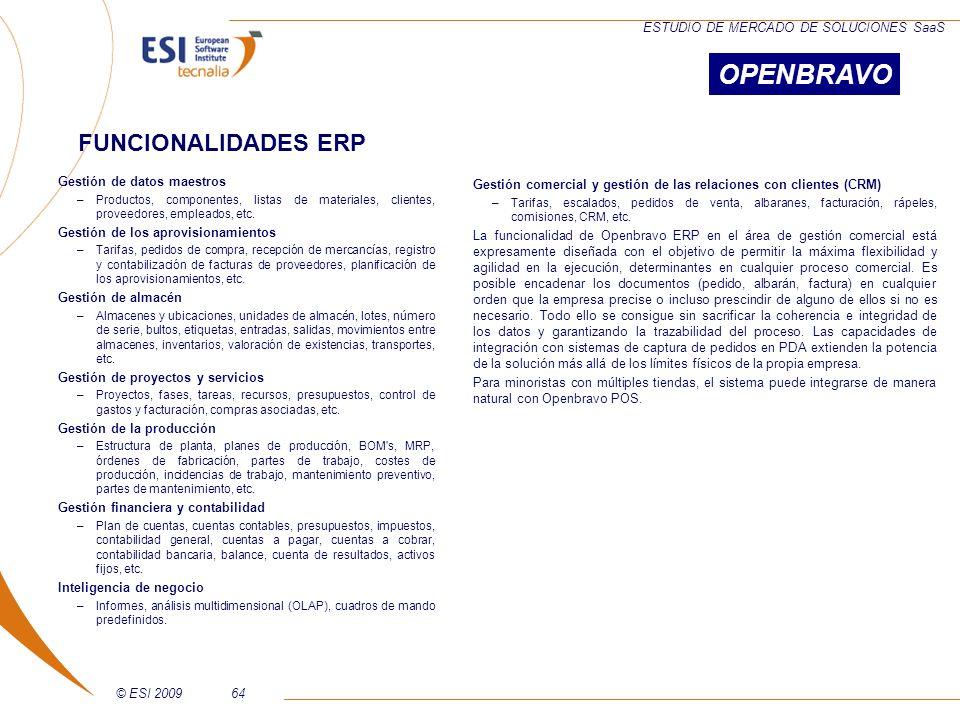 OPENBRAVO FUNCIONALIDADES ERP Gestión de datos maestros