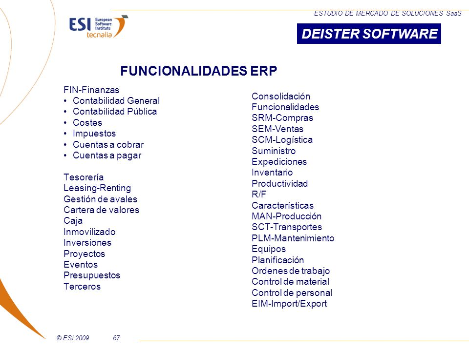 DEISTER SOFTWARE FUNCIONALIDADES ERP FIN-Finanzas Contabilidad General
