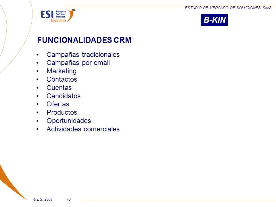 B-KIN FUNCIONALIDADES CRM Campañas tradicionales Campañas por email
