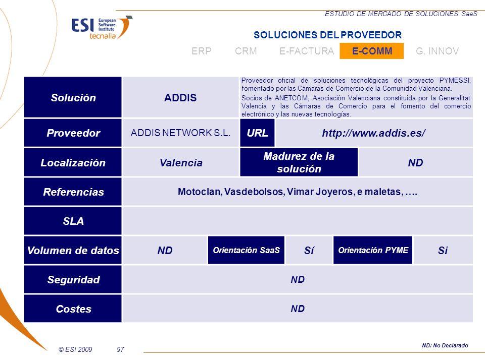 ADDIS Localización Madurez de la solución Volumen de datos