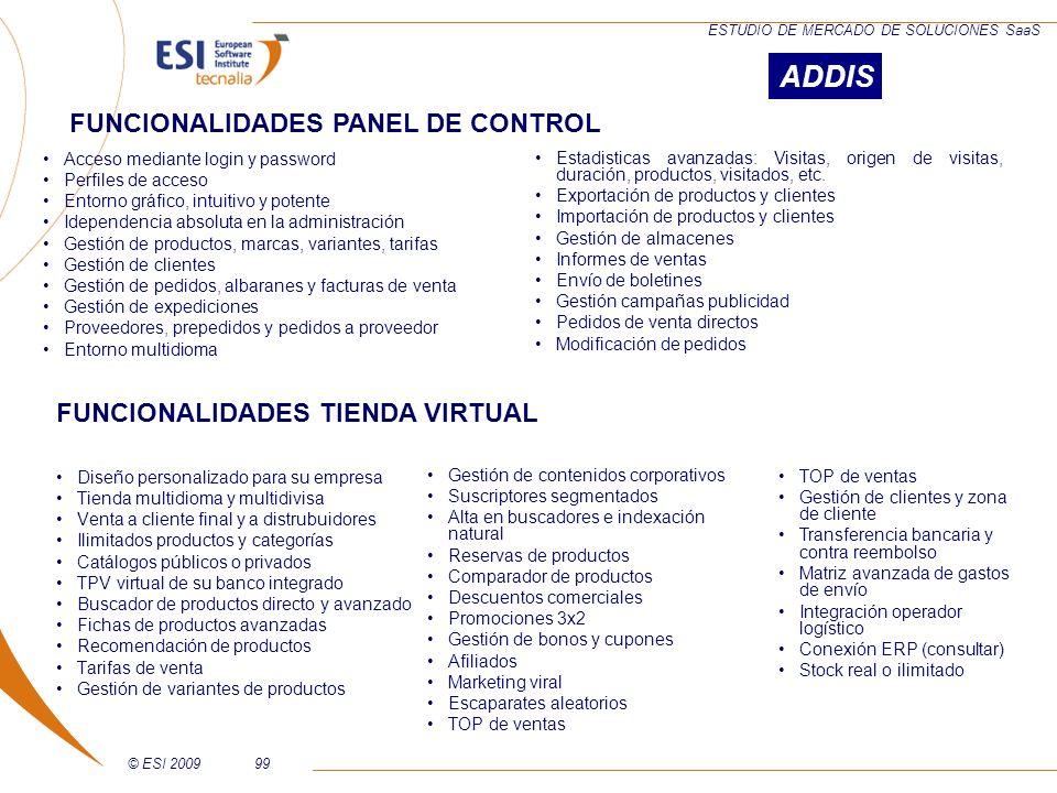 ADDIS FUNCIONALIDADES PANEL DE CONTROL FUNCIONALIDADES TIENDA VIRTUAL
